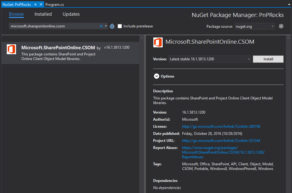 Screenshot of the NuGet package manager in the Visual Studio 2015 with Micorosft.SharePointOnline.CSOM package shown