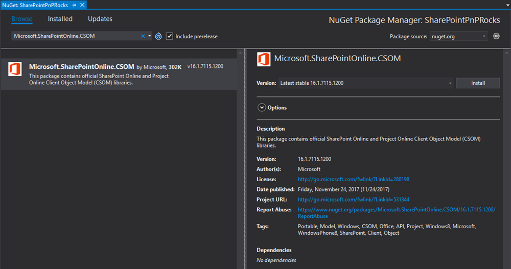 CSOM package visible in the NuGet gallery view at Visual Studio