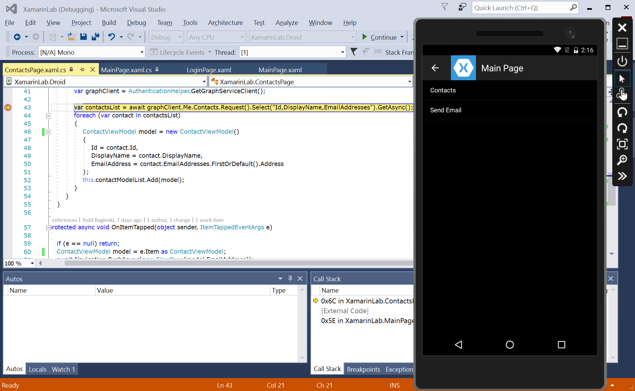 Visual Studio, Xamarin, and Microsoft Graph Development