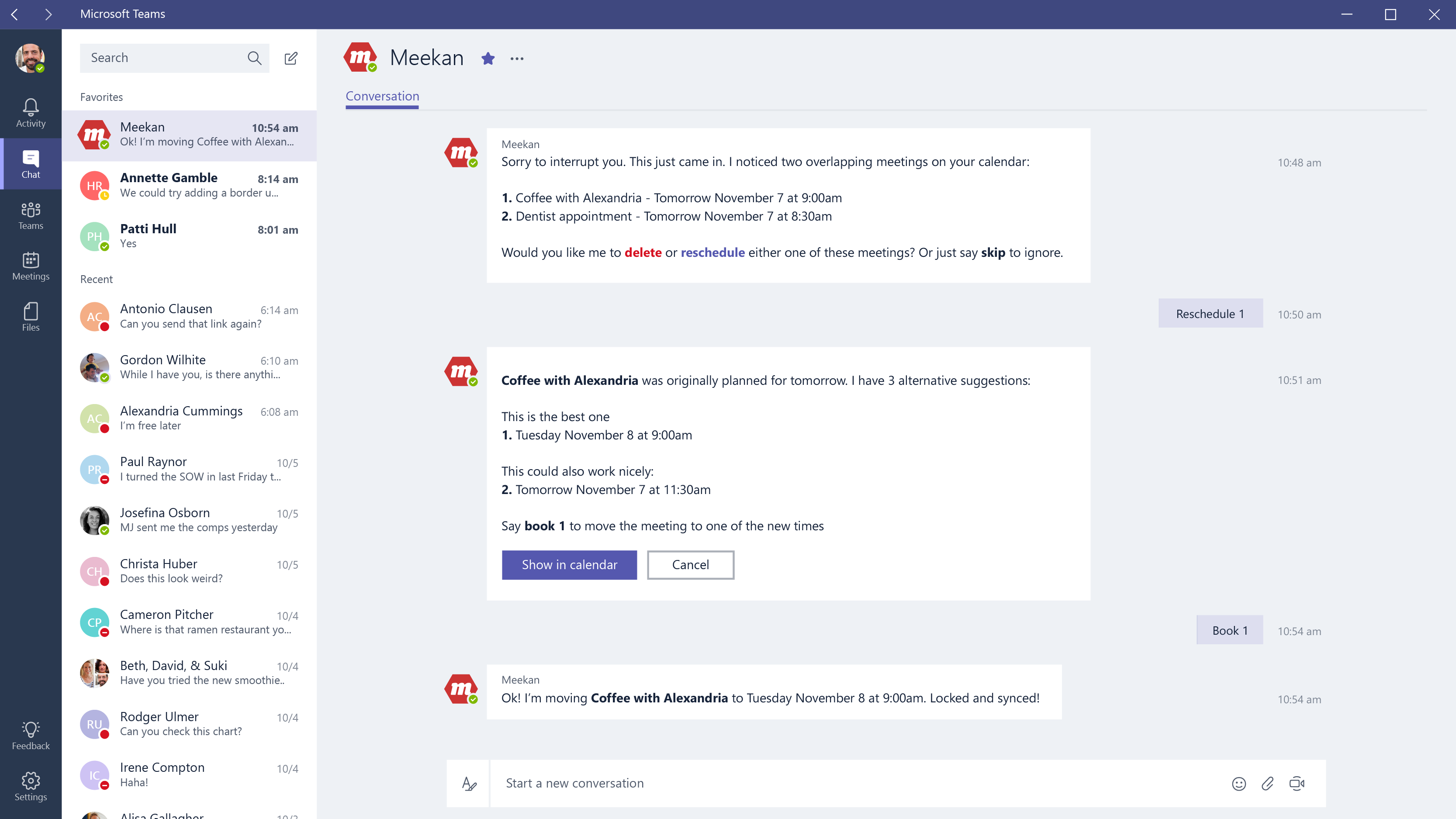 Screenshot of Microsoft Teams bot