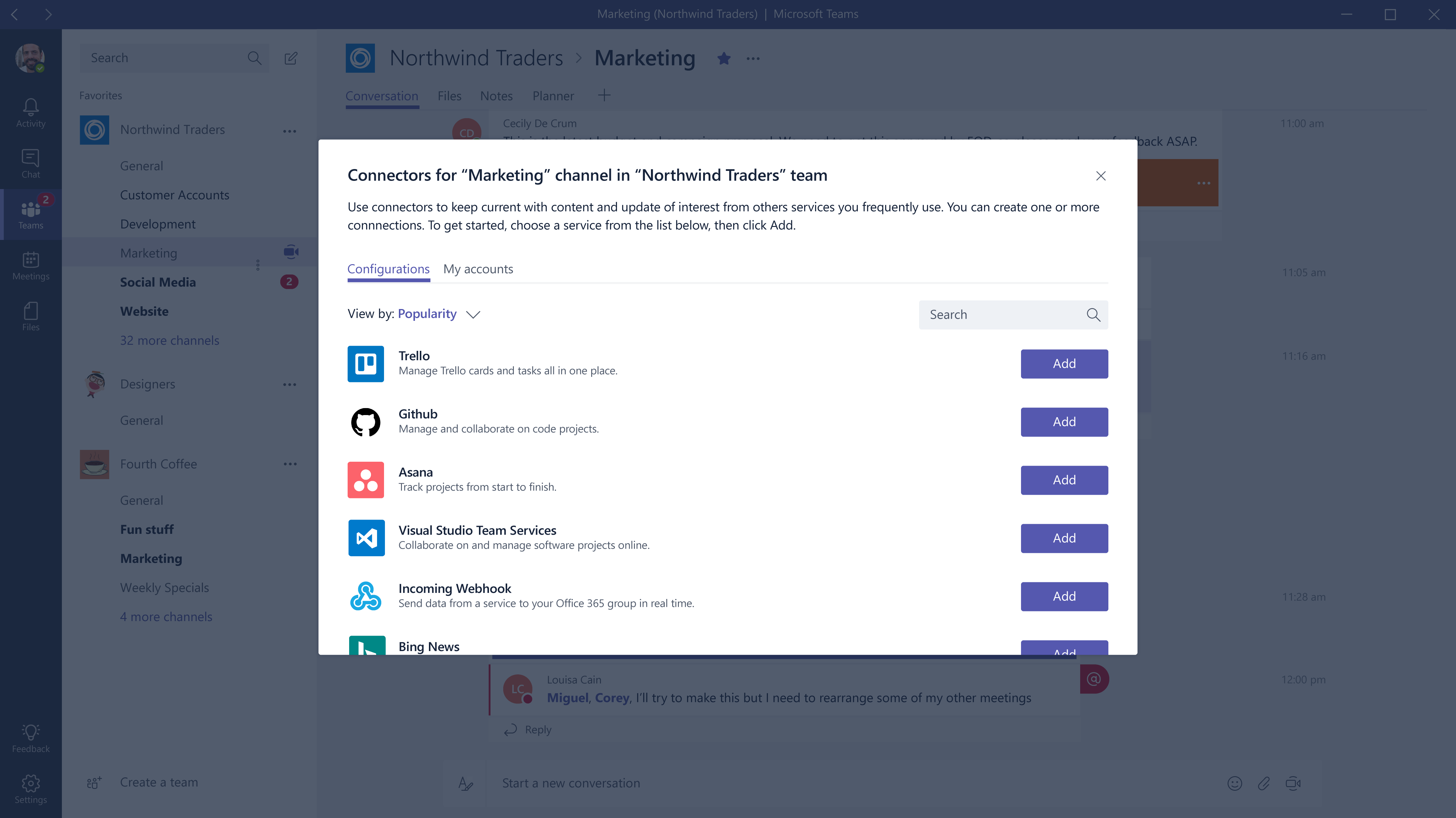 Screenshot of Microsoft Teams connector