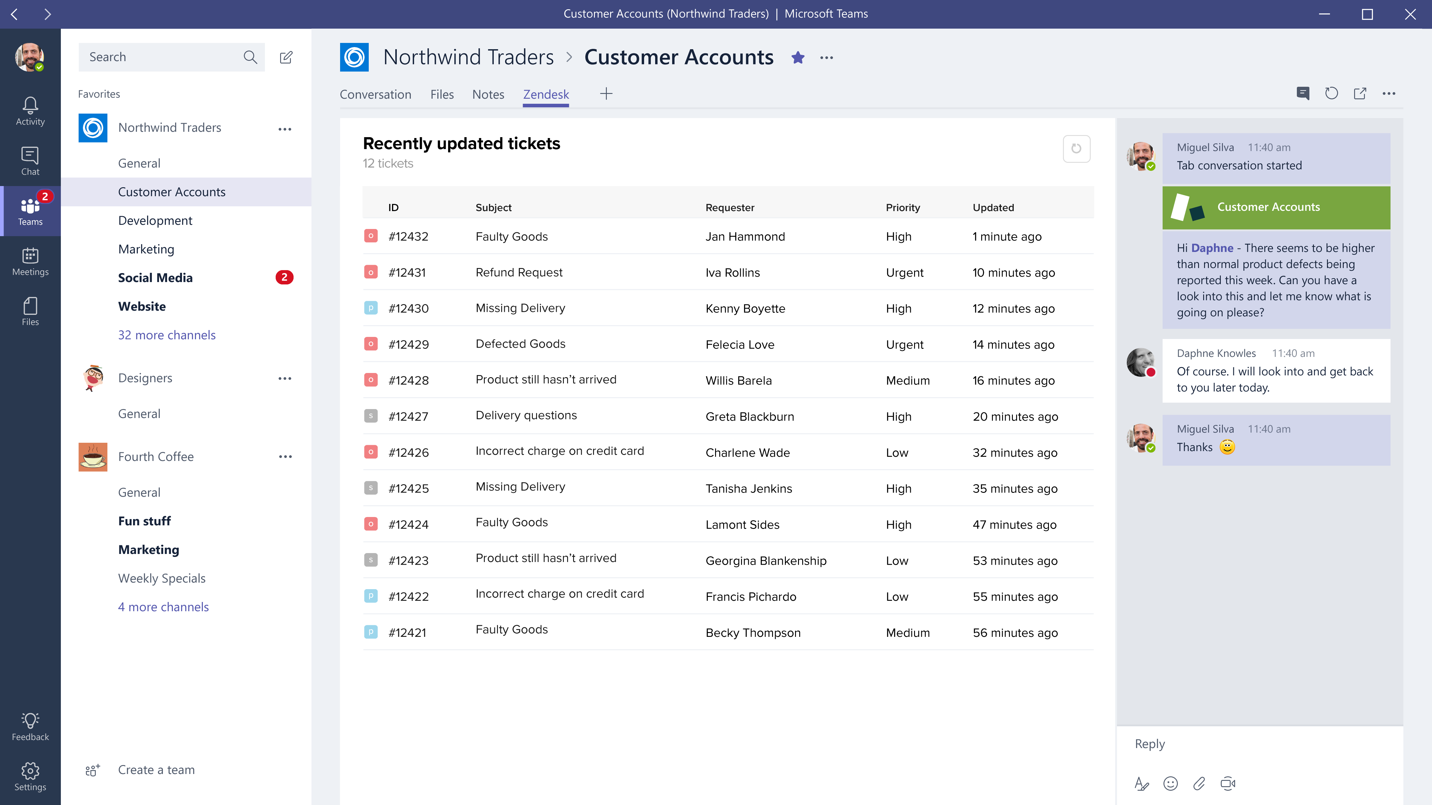 Screenshot of Microsoft Teams tab